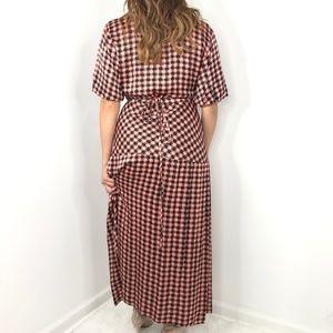 Topshop Dresses - TOPSHOP Pink Black Checkered Maxi Wrap Dress